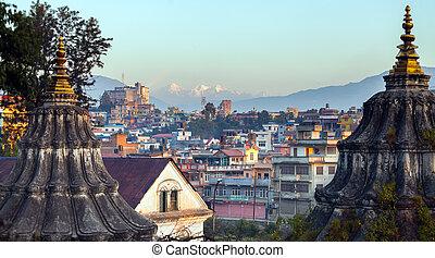 Bhasmeshvar Ghat at Pashupatinath temple and Bagmati River...