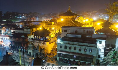 Bhasmeshvar Ghat at Pashupatinath temple and Bagmati River...