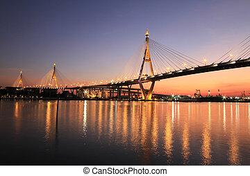 bhumibol, überbrücken blick, thailand., nacht