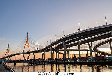 bhumibol, 日没, タイ, 橋, バンコク