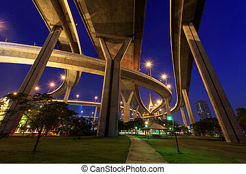 bhumibol, brücke, bangkok, oben, park
