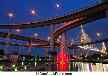 Bhumibol Bridge in Thailand, also known as the Industrial Ring Road Bridge, in Thailand. The bridge crosses the Chao Phraya River twice.
