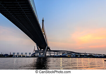 Bhumibol Bridge in the Evening