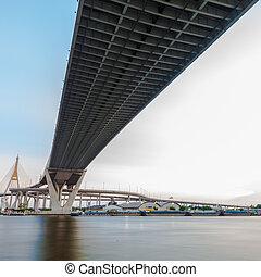 bhumibol, pont, dans, thaïlande, pont, croix, les, chao phraya rivière, twice.