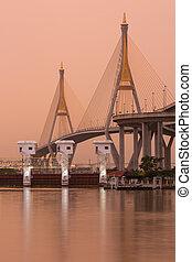 bhumibol, puente, industrial, anillo, puente, en, amanecer