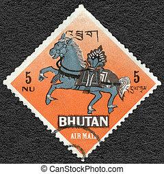 bhutan , - , 1968:, αποδεικνύω , αέρας , άλογο , σύμβολο , από , βουδισμός