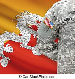 bhutan, -, amerikai, katona, lobogó, háttér