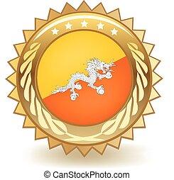 Bhutan Badge - Gold badge with the flag of Bhutan.