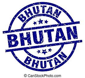 Bhutan blue round grunge stamp