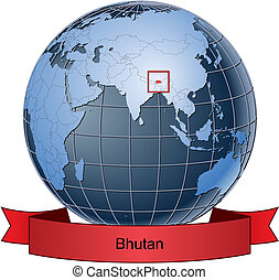 Bhutan, position on the globe Vector version with separate...