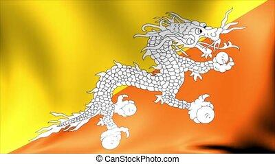 bhutan, flag., animation., seamless, zawiązywanie, tło