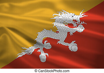 Bhutan flag blowing in the wind