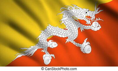 Bhutan flag Motion video waving in wind. Flag Closeup 1080p HD footage