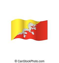 Bhutan flag, vector illustration on a white background