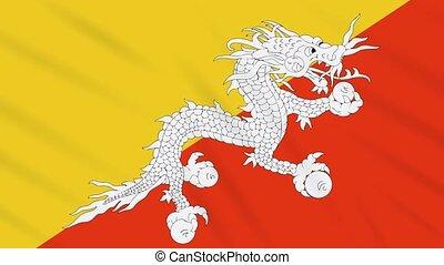 Bhutan flag waving cloth background, loop