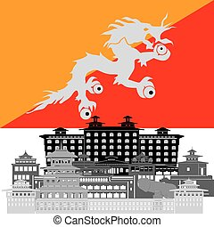 Bhutan - State flags and architecture of the country....