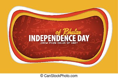 Bhutan. Independence day greeting card. Paper cut style.