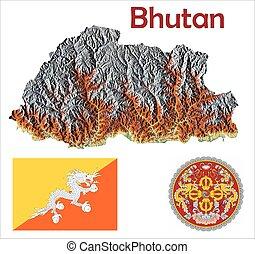 Bhutan map flag coat