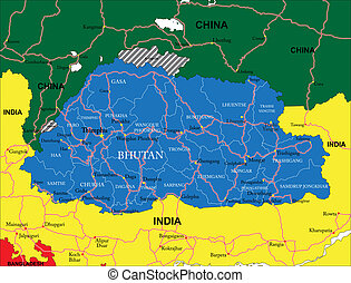 Highly detailed vector map of Bhutan with administrative regions, main cities and roads.
