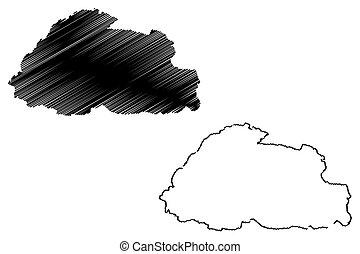 Bhutan map vector illustration, scribble sketch Bhutan