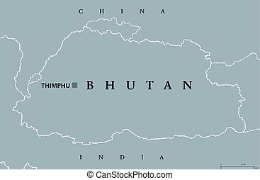 Bhutan political map with capital Thimphu and borders....