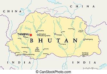 Bhutan Political Map - Bhutan political map with capital...