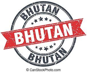 Bhutan red round grunge vintage ribbon stamp