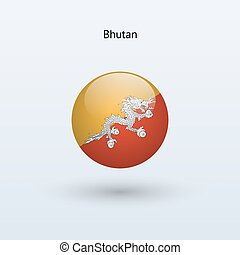 Bhutan round flag. Vector illustration.