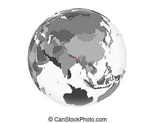 Bhutan with flag on globe isolated