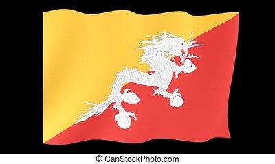 Bhutanese flag . Waving - Flag animation Useful for editors....