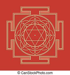 bhuvaneshwari, illustration, monocrome, contour, yantra