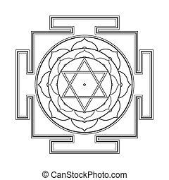 bhuvaneshwari, ilustración, monocrome, contorno, yantra