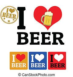 bière, étiquettes, amour, signe
