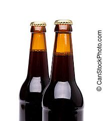 bière, blanc, bouteilles, deux, isolé
