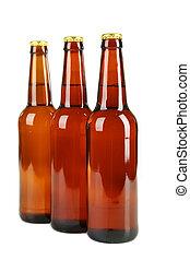bière, blanc, bouteilles, isolé