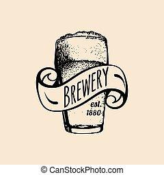 bière blonde, badge., illustration., tasse, vendange, signe., bière, homebrewing, étiquette, verre, bière, vecteur, retro, sketched, main, logo., ou, kraft