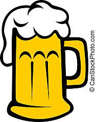 bière blonde, tankard, bière, ou, écumeux