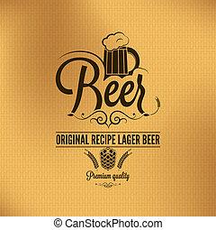 bière blonde, vendange, bière, fond