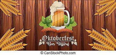 bière, conception, bannière, oktoberfest, célébration, festival