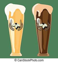 bière, deux, lunettes