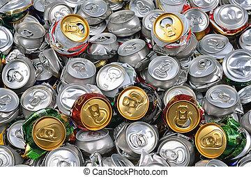 bière, ecrasé, boîtes, fond