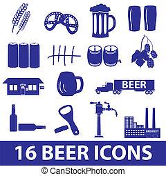 bière, ensemble, eps10, icône