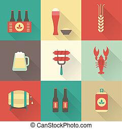 bière, ensemble, icônes