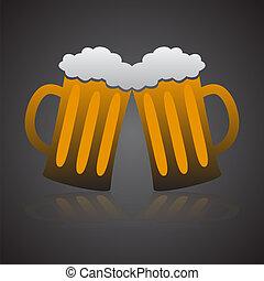 bière, entiers, eps10, deux, lunettes