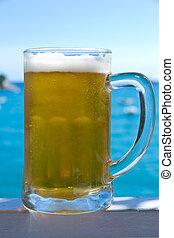 bière, froid, ciel, mer, fond