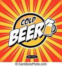 bière froide, signe
