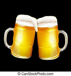 bière, grandes tasses, deux