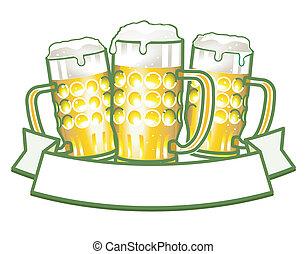 bière, grandes tasses, trois