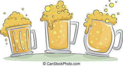 bière, grandes tasses