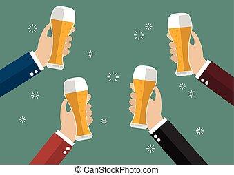 bière, grillage, hommes affaires, lunettes